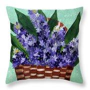 Basket Of Hyacinths  Throw Pillow