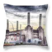 Battersea Power Station London Snow Throw Pillow