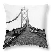 Bay Bridge Under Construction Throw Pillow