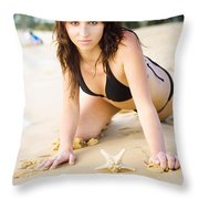 Beach Fun With A Gorgeous Brunette Throw Pillow