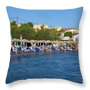 Beach In Aegina Town Throw Pillow