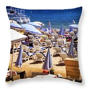 Beach In Cannes Throw Pillow