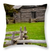 Beautiful Autumn Scene Showing Rustic Old Log Cabin Surrounded B Throw Pillow