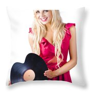 Beautiful Blonde With Heart-shaped Record Throw Pillow