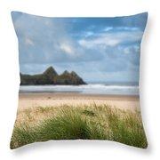 Beautiful Blue Sky Morning Landscape Over Sandy Three Cliffs Bay Throw Pillow