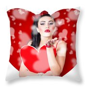 Beautiful Girl In A Bright Love Romance Throw Pillow