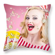 Beautiful Girl Watching Premier At Movie Theater Throw Pillow
