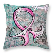 Beautiful Inspirational Elegant Pink Ribbon Design Art For Breast Cancer Awareness Throw Pillow