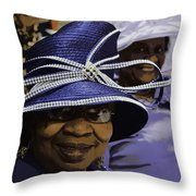 Beautiful Ladies In Purple Hats Throw Pillow
