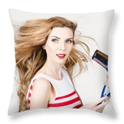 Beautiful Model Hair Styling Long Red Hairstyle Throw Pillow
