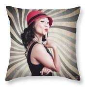 Beautiful Model In Vintage Fashion Accessories  Throw Pillow