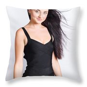 Beautiful Model With Long Straight Brunette Hair Throw Pillow