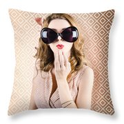 Beautiful Surprised Girl Wearing Big Sunglasses Throw Pillow