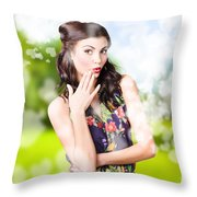 Beautiful Valentines Day Woman. Cosmetic Love Throw Pillow
