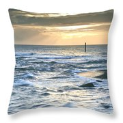 Beautiful Warm Vibrant Sunrise Over Ocean With Cliffs And Rocks Throw Pillow