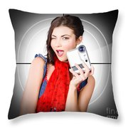 Beautiful Woman Holding Home Video Camera Throw Pillow