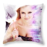 Beautiful Woman In Flight Of Fantasy Throw Pillow
