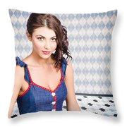 Beautiful Young Brunette Pin-up Woman  Throw Pillow