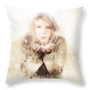 Beautiful Young Woman Blowing Snow In Winter Style Throw Pillow