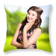 Beauty Girl. Beautiful Young Woman With Clean Skin Throw Pillow