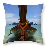 Beauty Of Boats Thailand 1 Throw Pillow