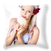 Beauty Woman With Clean Skin And Natural Makeup Throw Pillow