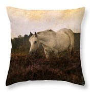 Bed Of Heather Throw Pillow