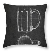 Beer Mug Patent From 1876 - Dark Throw Pillow