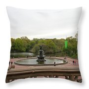 Bethesda Fountain Nyc Throw Pillow