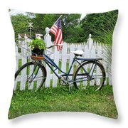 Bicycle And White Fence Throw Pillow