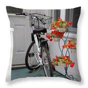 Bicycles And Geraniums Throw Pillow