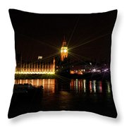 Big Ben And The House Of Parliment On The Thames Throw Pillow