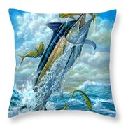 Big Jump Blue Marlin With Mahi Mahi Throw Pillow