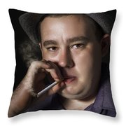 Big Mob Boss Smoking Cigarette Dark Background Throw Pillow