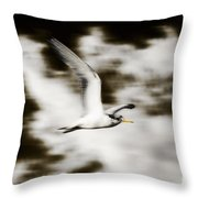 Bird Flying In The Clouds Throw Pillow