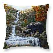 Black Bear Falls Throw Pillow by Crista Forest