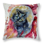 Black Cat In Gold Throw Pillow