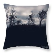 Black Silhouette Trees In Spooky Tasmanian Forest Throw Pillow