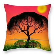 Black Tree - Algorithmic Art Throw Pillow by GuoJun Pan