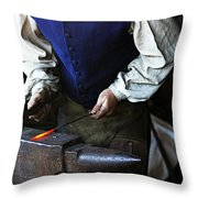 Blacksmith At The Old Fort Throw Pillow