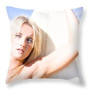 Blond Sports Girl Holding Surfboard Throw Pillow