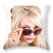 Blond Woman In Sunglasses Throw Pillow