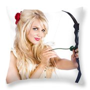 Blond Woman With Cupid Bow Throw Pillow