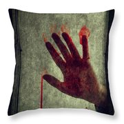 Bloody Hand On Window Throw Pillow