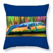Blue Alligator Throw Pillow