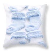 Blue Baby Socks Throw Pillow