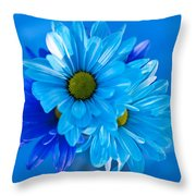 Blue Daisies In Vase Outdoors Throw Pillow
