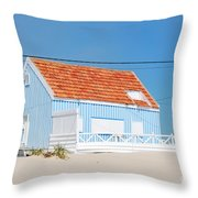 Blue Fisherman House Throw Pillow