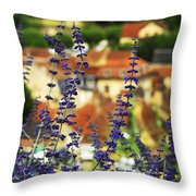 Blue Flowers And Rooftops In Sarlat Throw Pillow