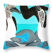 Blue Footed Boobies. Throw Pillow